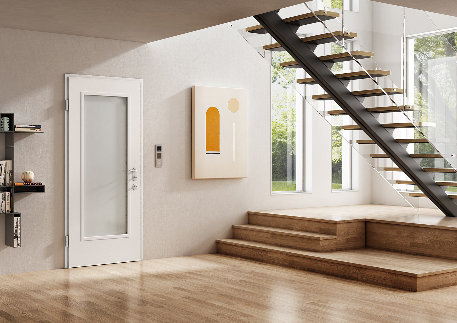 Security doors 883 with glass insert